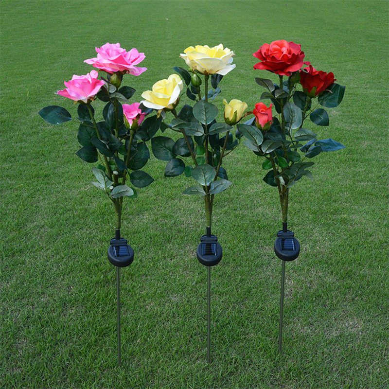 Outdoor solar powered led light waterproof rose flower - Decorative garden lights solar powered ...