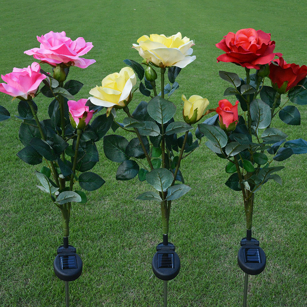 3led Solar Powered Rose Flower Garden Stake Landscape Lamp