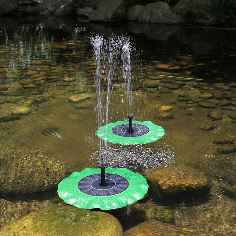 Cordless floating lotus solar power water fountain fish for Pool pump for koi pond
