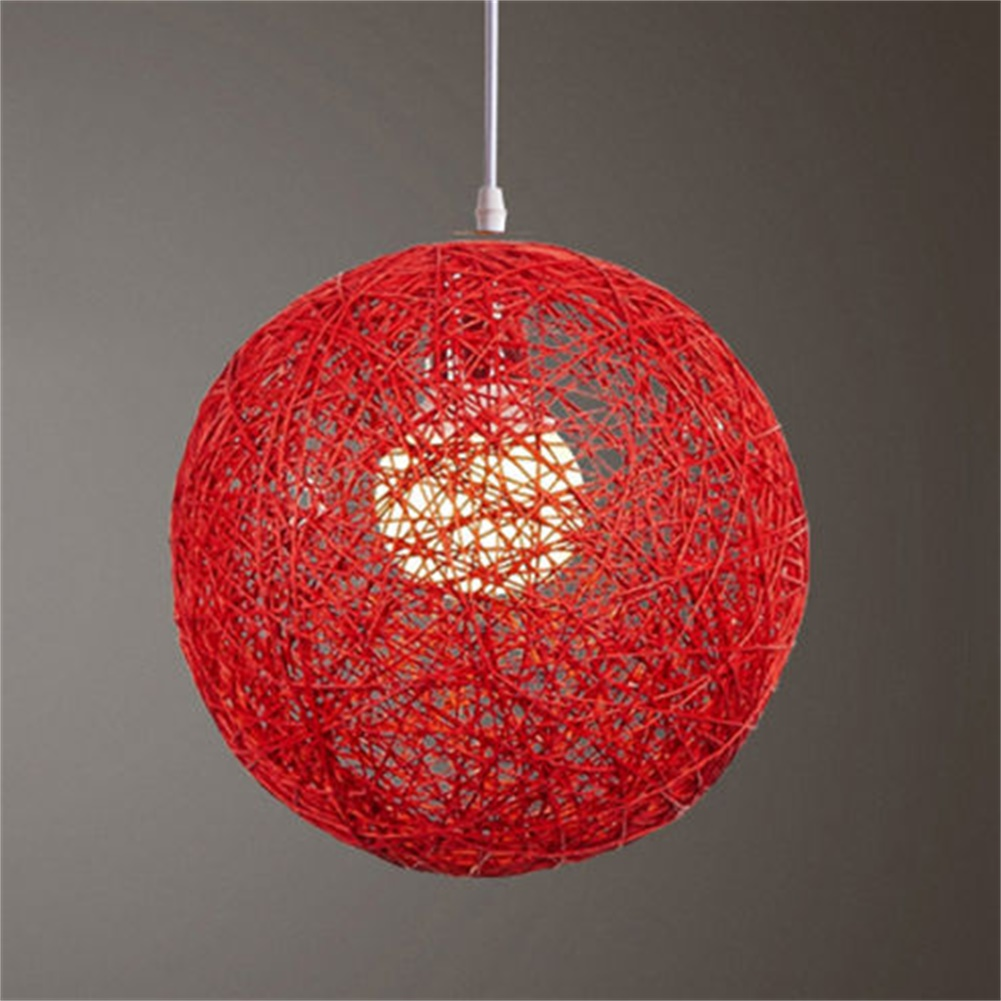 Rattan Wicker Ball Ceiling Light Pendant Round Lamp Shade Simple Fixture Home