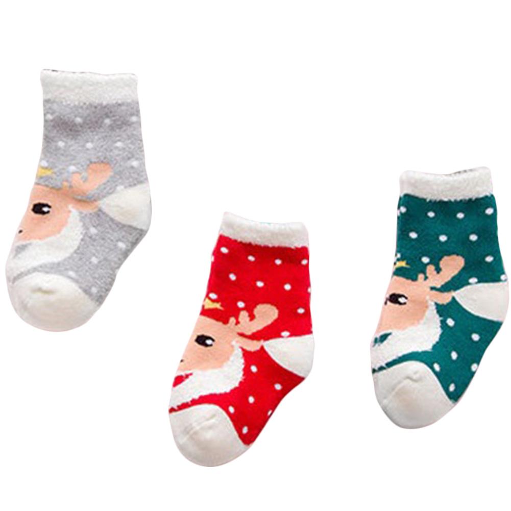 S Christmas deer 3 Pairs Cartoon Baby Kids Christmas Socks Gift Sets ...