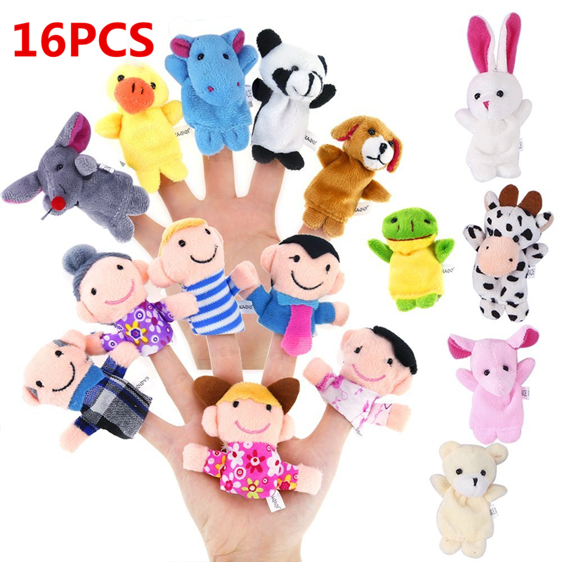 6Pcs Family Finger Puppets Cloth Doll Baby Educational Hand Toy Story Kid S1#