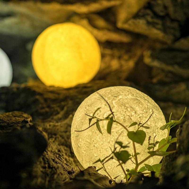 26F8 Mondlicht Mondlampe Mehrfarbig 3D Print Batterie Lunar Light Wohnkultur Für