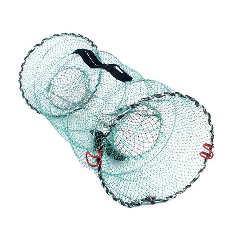 Details about Folding Round Nylon Mesh Fish Minnow Crab Shrimp Net Fishing  Bait Trap Cast Cage
