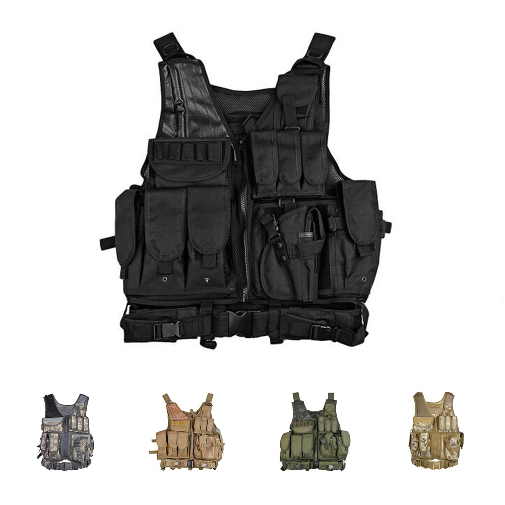 Tactical Swat Black Combat Vest Special Force Military Hunting Gear with  Holster bbd919485e5