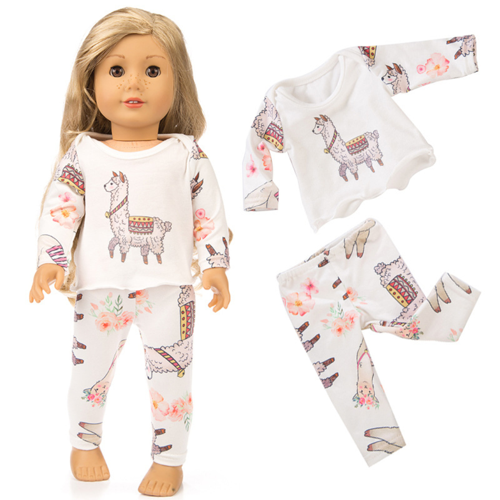 4bd8d5b10b Details about US Cute Printing Pajamas Suit Doll Clothes for 18 Inches Girl  Doll Accessories