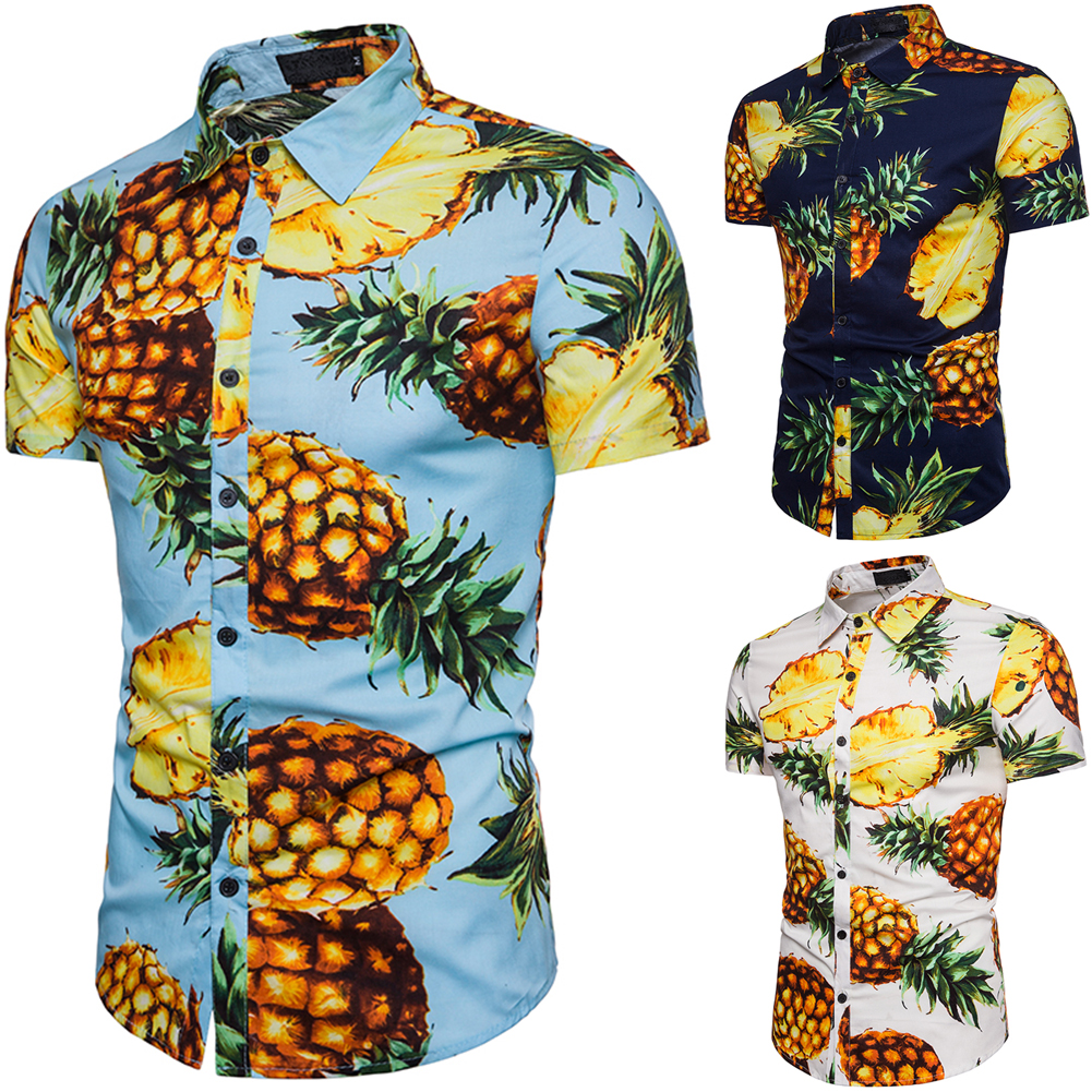 cbabdf54c69 Details about Men s Stylish Shirt Summer Casual Short Sleeve Floral Print  Hawaiian Beach Tops