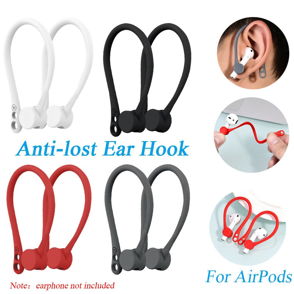 Red 2 Pair EarHooks for AirPods Anti-Lost Secure Ear Hook Holder Ear Attachment Loops ForApple AirPods 1 /& 2 Earphone Earbuds Earpods