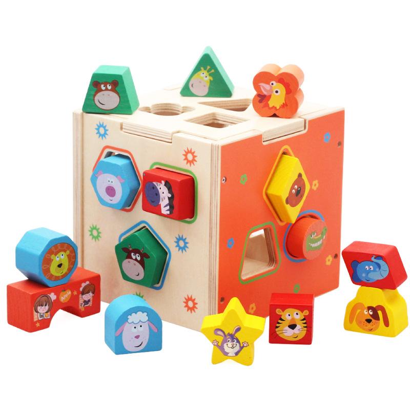 Wooden Assembling Building Blocks Intelligent Box Toy