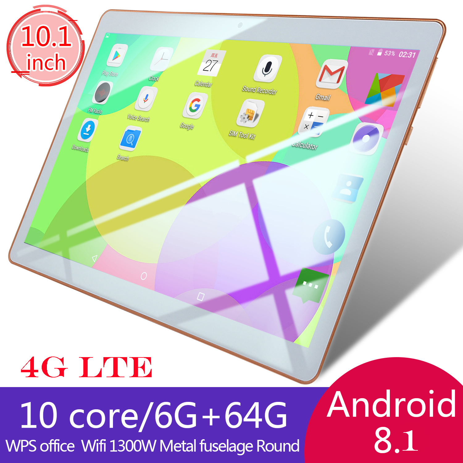 Details about 10 1 Inch WIFI/4G-LTE HD PC Tablet Android 8 1 Bluetooth  6+64G 2 SIM&Camera GPS