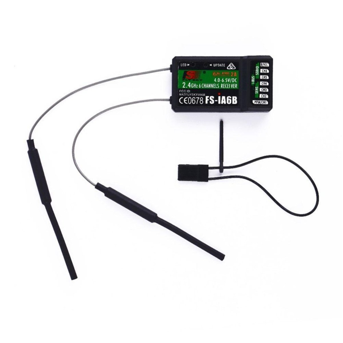 2.4G FS-IA6B 6CH Receiver PPM Output W// IBus Port Compatible With I4//I6 Gift