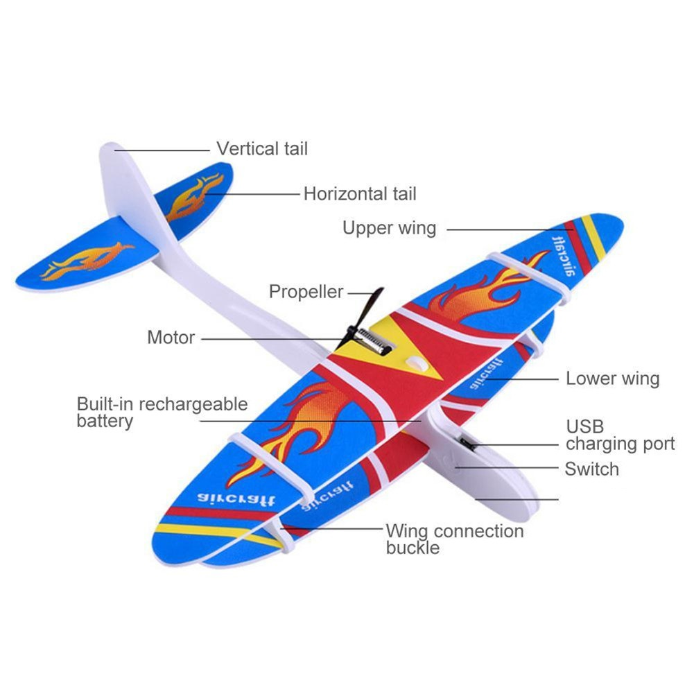 Throwing Airplane Children Toy Gliding Aircraft Model Night Children Toy Gliding Aircraft Light Broken-Resistant Foam Plane Blue