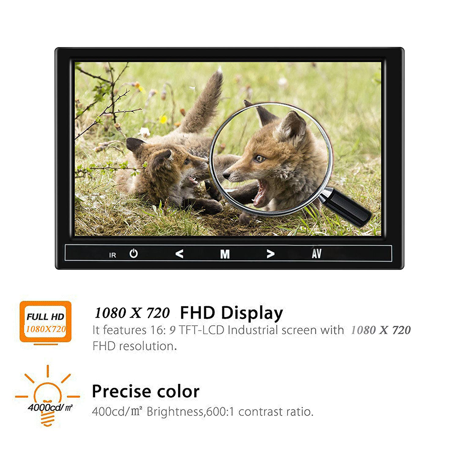 9inch Screen HD TFT LCD Portable 1080x720 (16:9 ) Resolution Color Screen Video Monitor with VGA AV HDMI for PC/CCTV/Home Security.