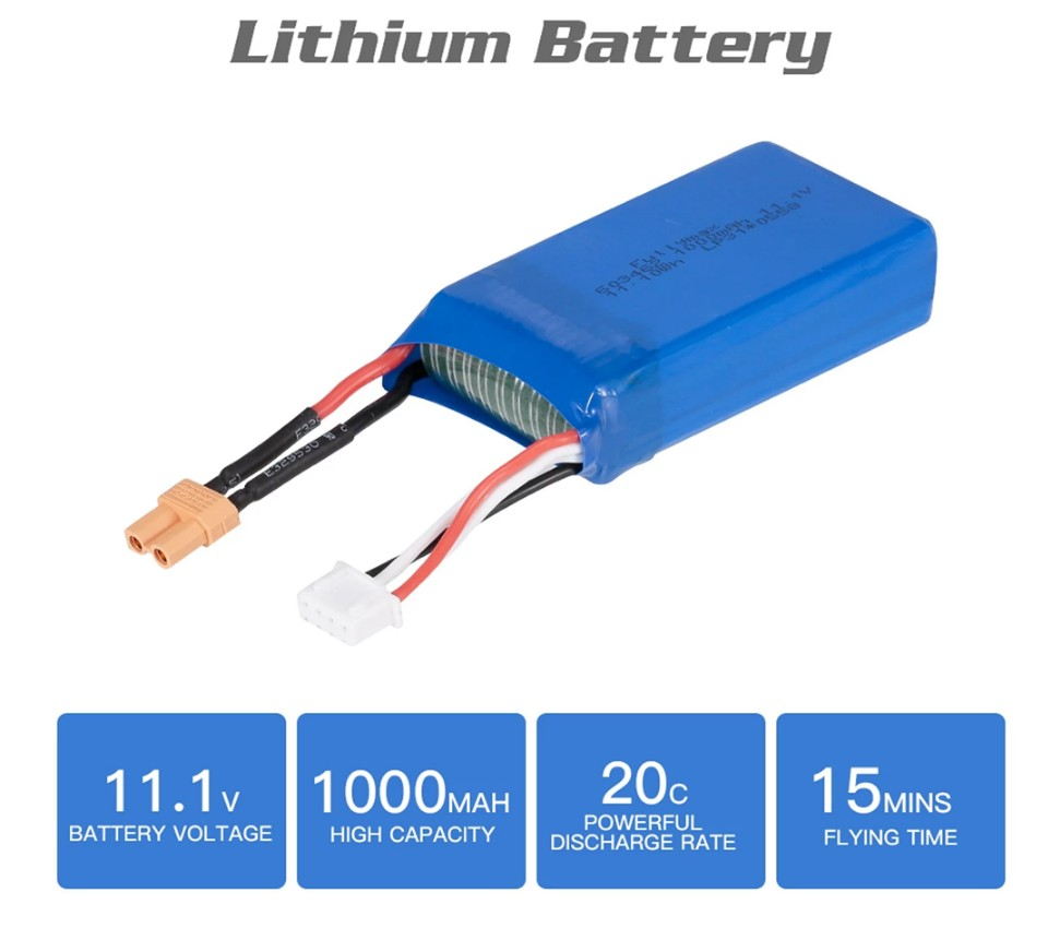 T-power 11.1V 1000mAh Lipo Battery For XK X450 FPV RC Drone Rechargeable Battery
