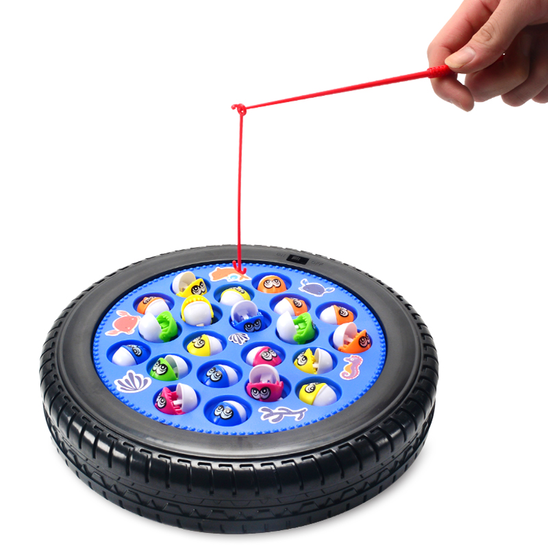 Kids Go Fishing Game Educational Toy Electric Music Rotating Catch Magnetic Fish
