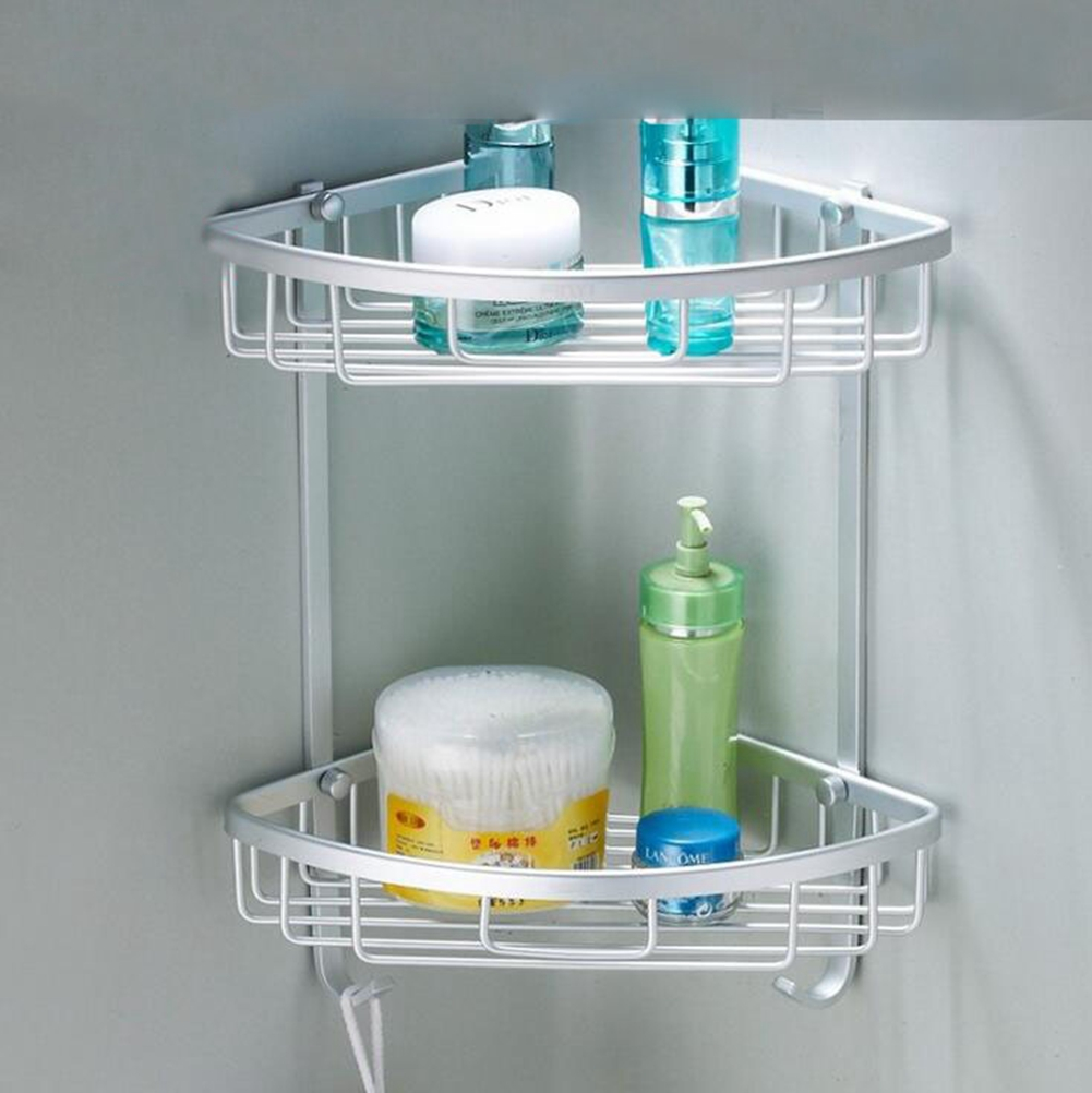 Space Aluminum Wall Mounted 2-Tier Triangle Basket Corner Basket ...