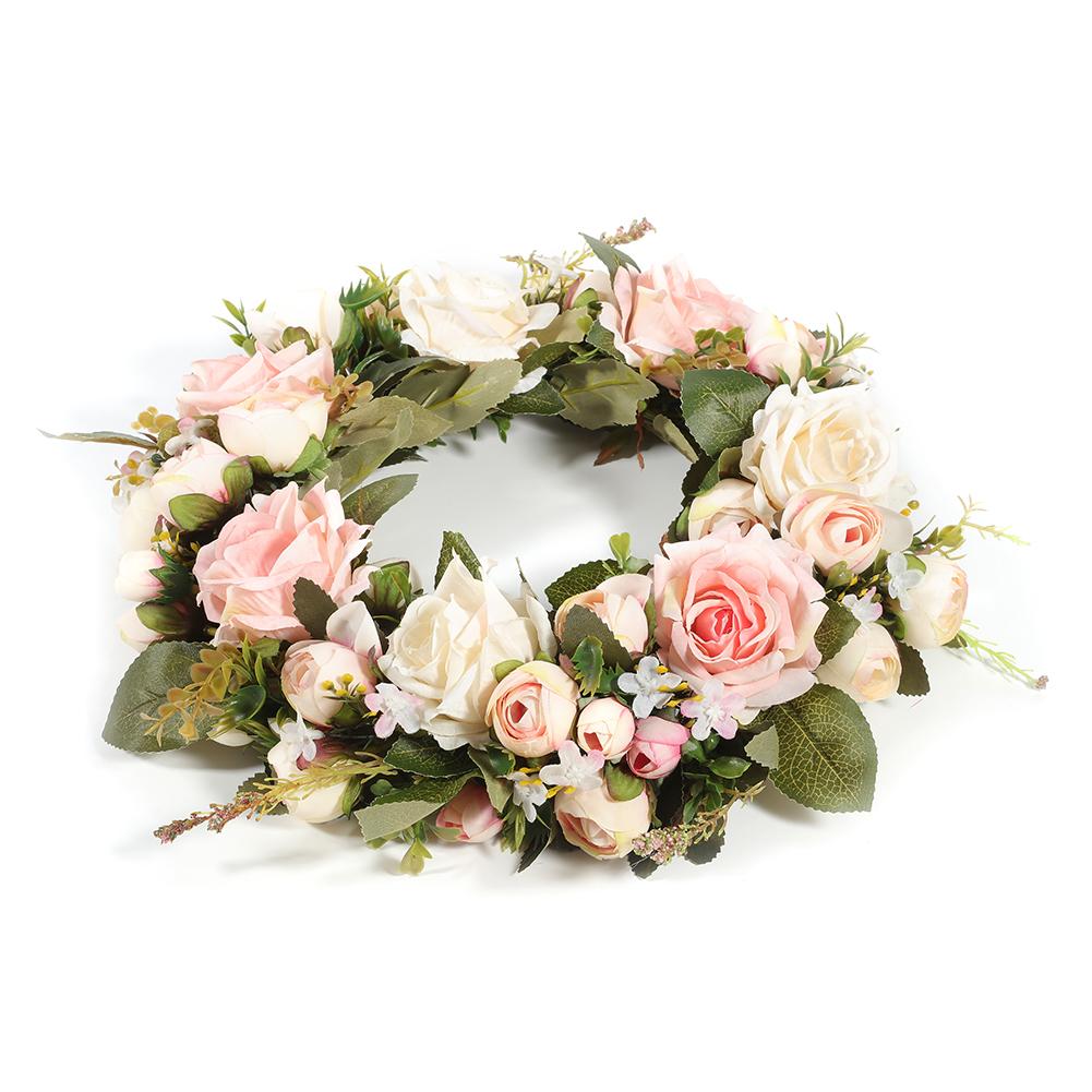 Artificial Pink Peony Wreath Romantic Rose Flower Garland Wedding