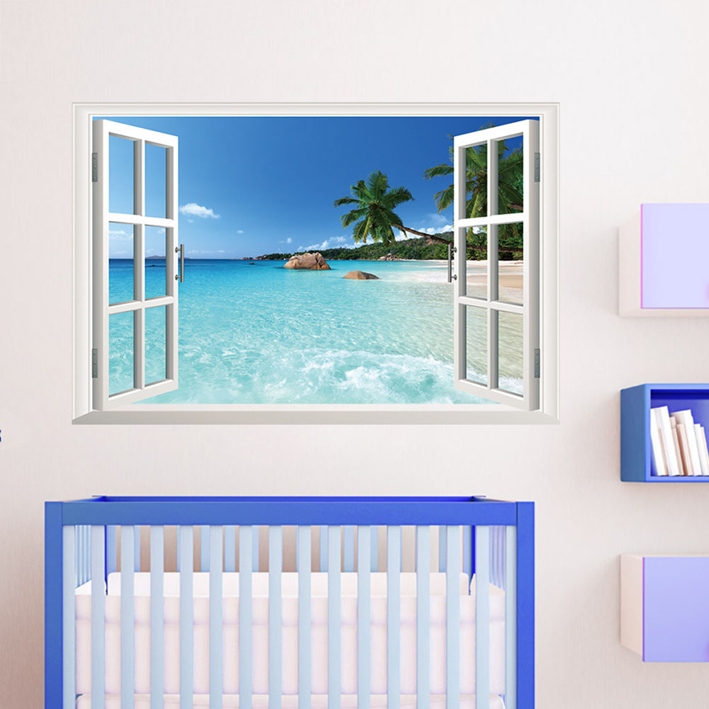 3d sonnenuntergang wandtattoo wandsticker kinderzimmer strand meer decor ebay. Black Bedroom Furniture Sets. Home Design Ideas