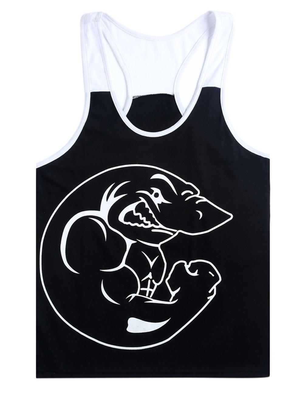Men-Y-type-BodyBuilding-Fitness-Tank-Top-Shark-Print-Training-Exercise-Slim-Vest