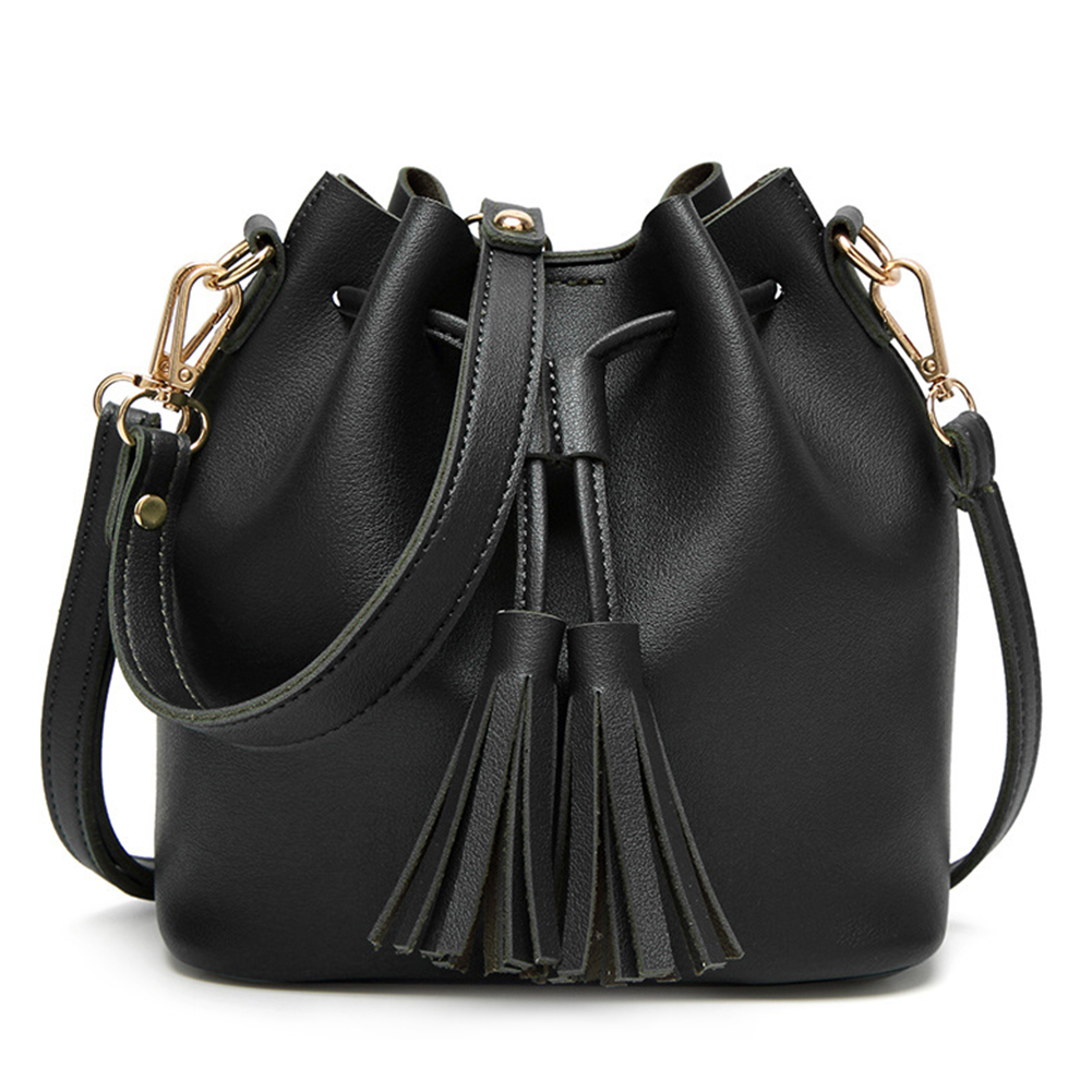 Woman-PU-Leather-String-Shoulder-Bag-Bucket-Fashion-Tassel-Crossbody-Handbag