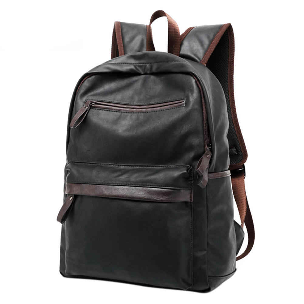 Men Leather School Backpack Casual Oil Wax Leather College Style Bag