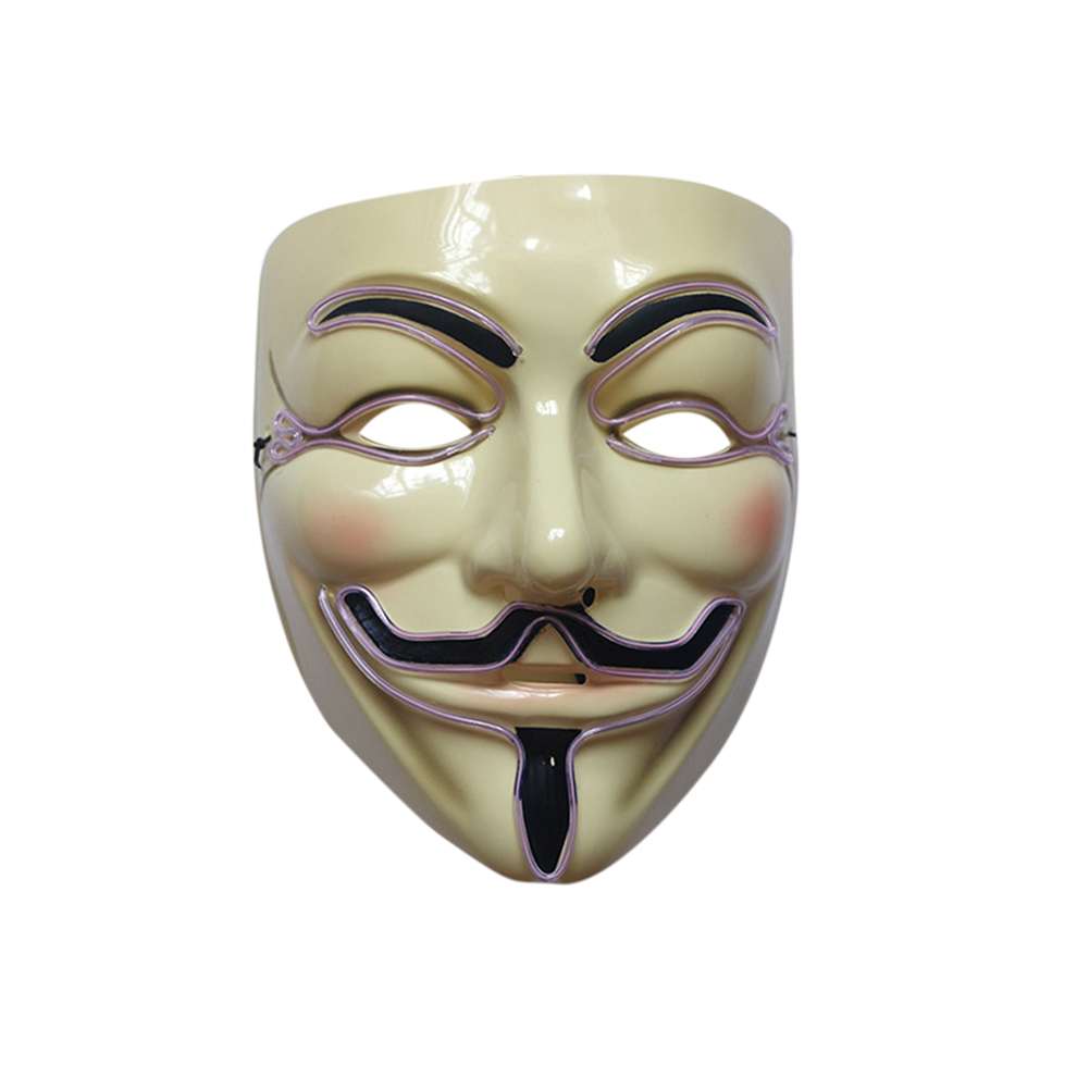 Green Men Light up V for Vendetta Guy Fawkes LED Anonymous Rave Mask ...