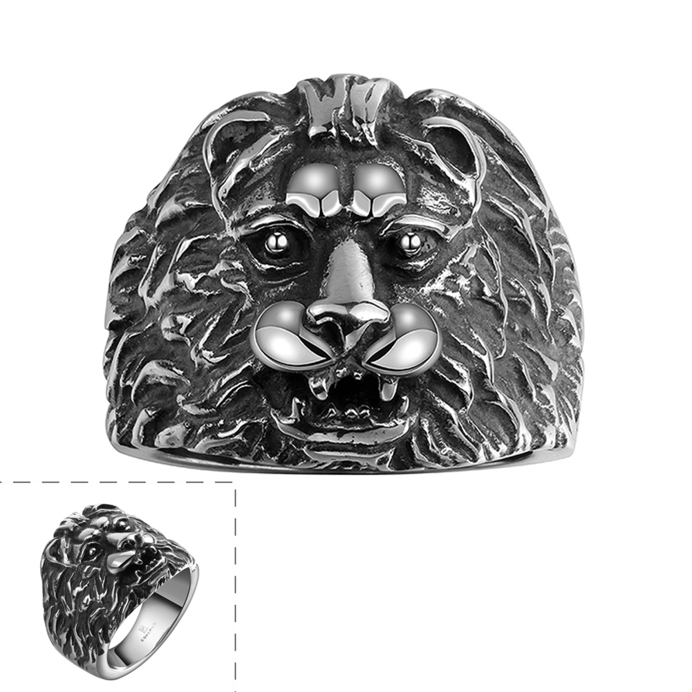 itm plated rings gold stainless head size image steel vintage mens ring lion