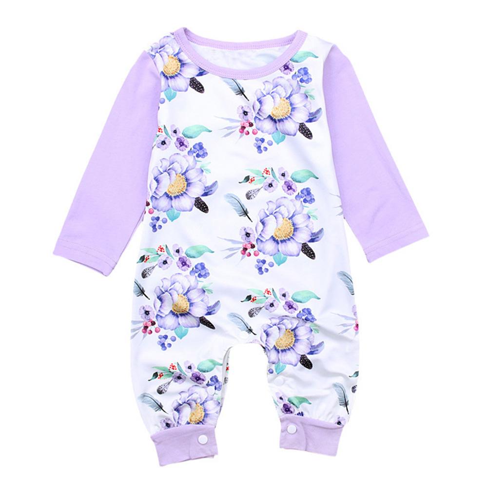 30c14a1d857 Newborn Baby Girl Long Sleeve Light Purple Flower Pattern Jumpsuits Winter  Kids