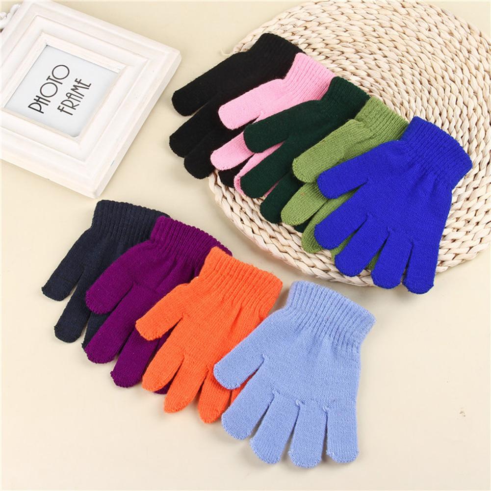 Unisex Kids Winter Warm Stretch Gloves Solid Color