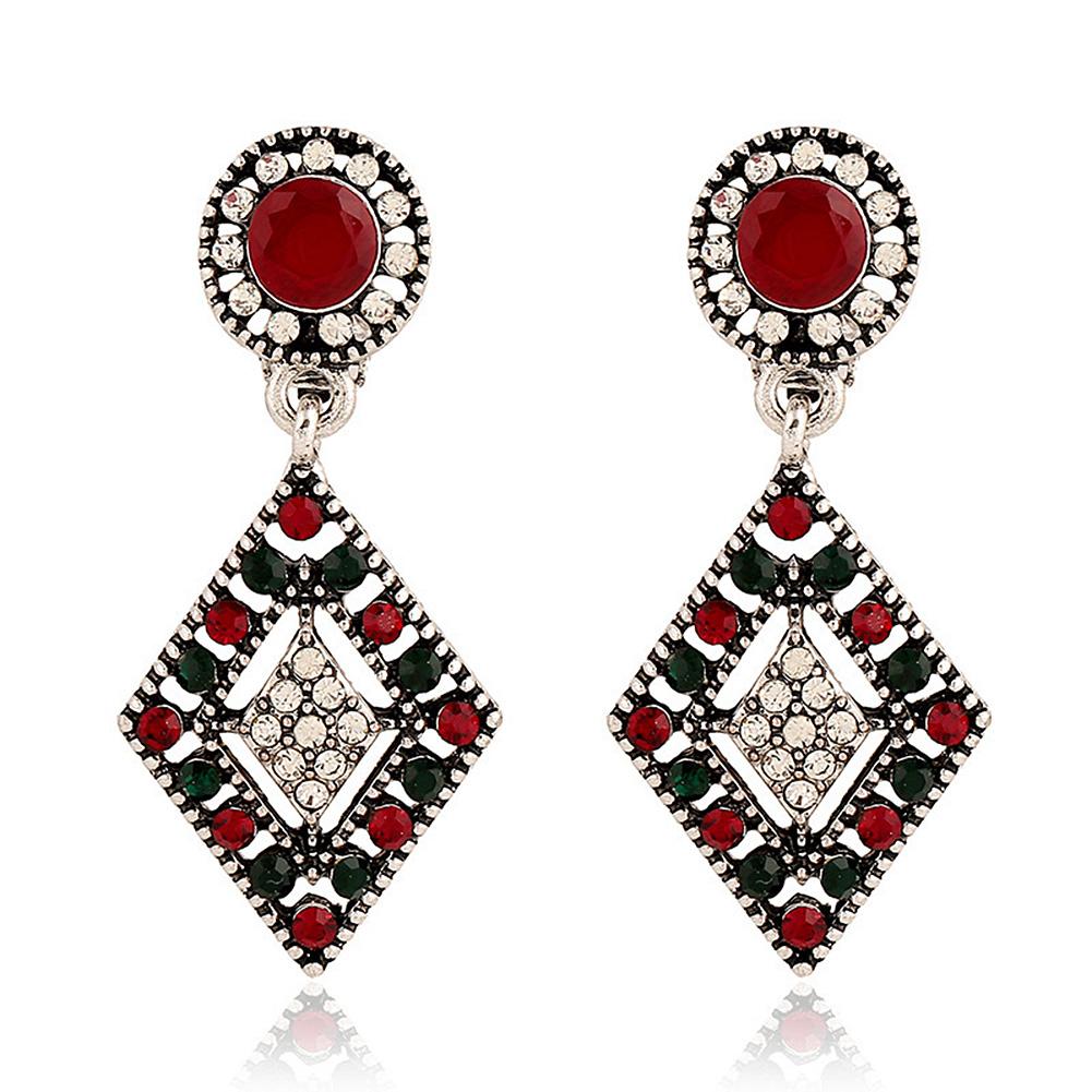 Rhinestone-de-las-mujeres-retro-Hueco-geometrico-Earbob-clips-de-moda-del-oido