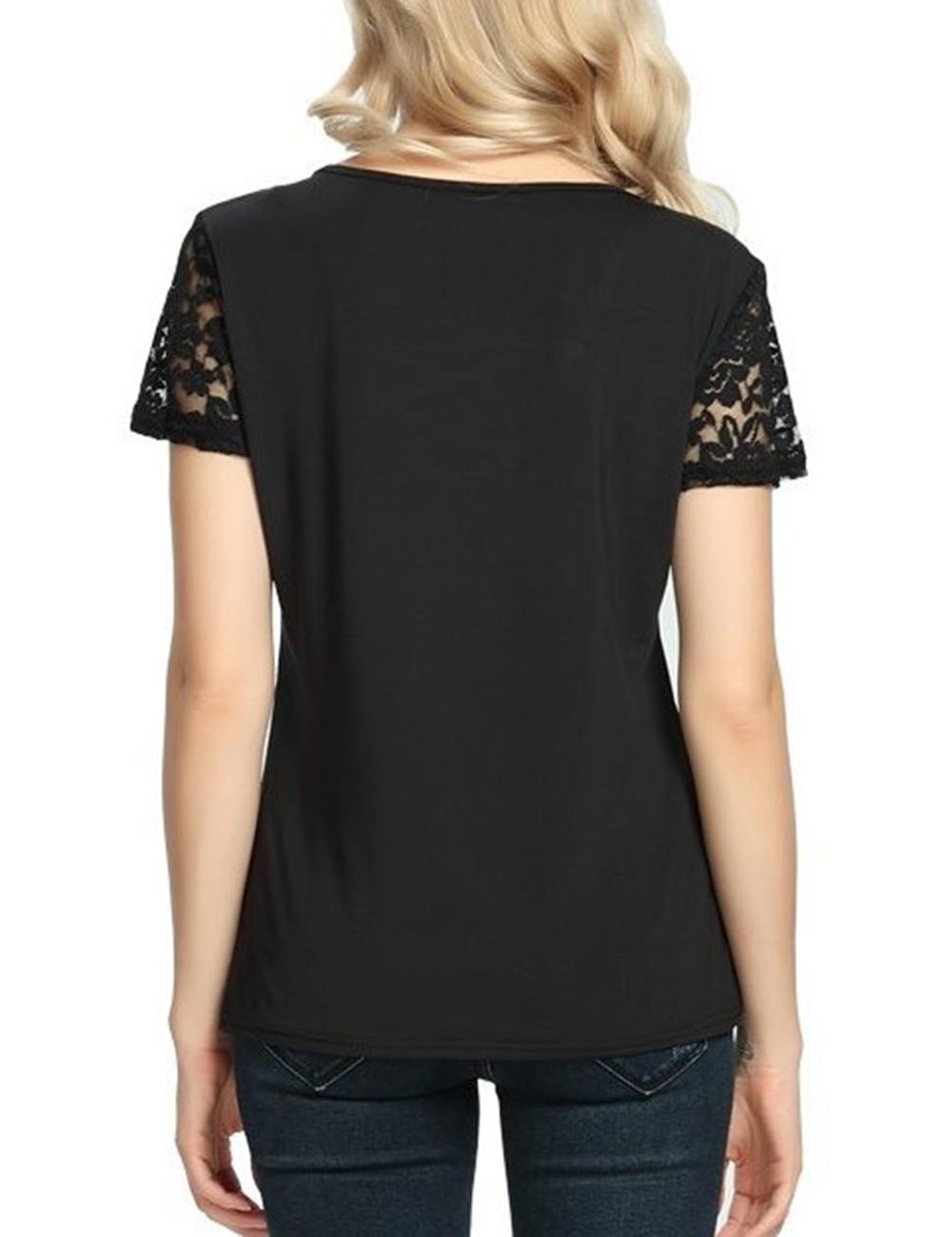 Sommer Damen Kurzarm Spitze Hohl häkeln T-Shirt Blusen Shirt Tops ...