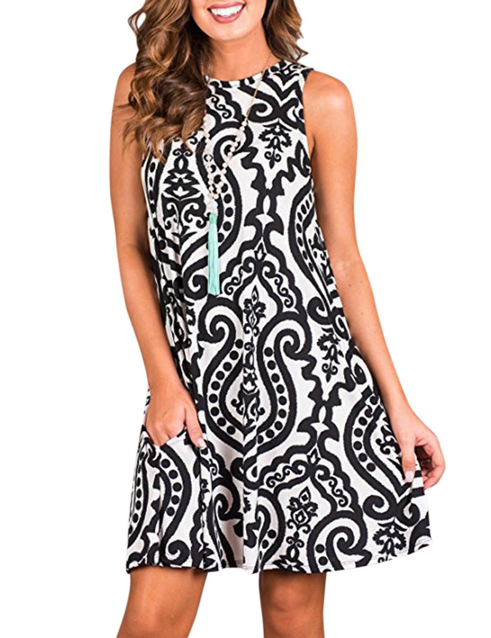 Summer Women Sleeveless Print Flower Dress Large Skirt Knee Length