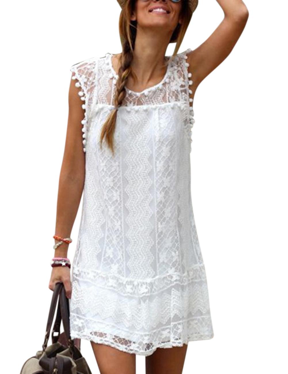Damen Ärmellos Sommer Kleid Minikleid Strandkleid Cocktailkleid ...