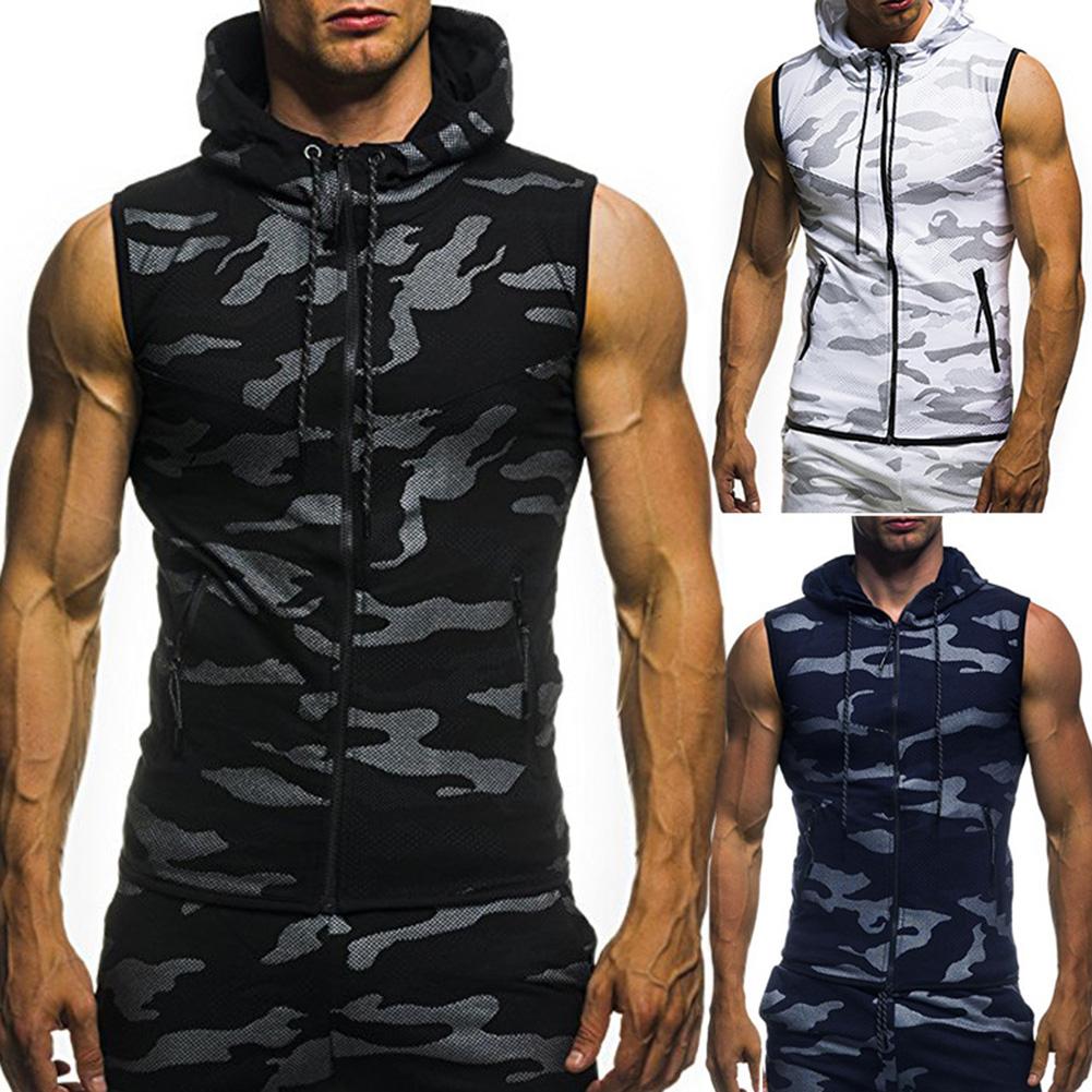 men fashion camouflage zipper vest slim fit t shirt sleeveless