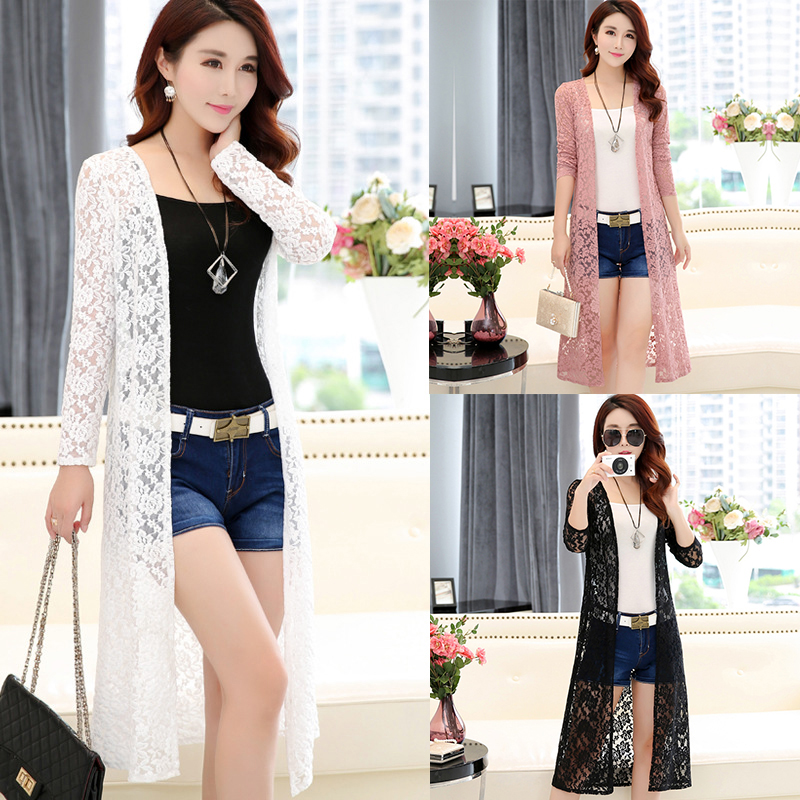 48feaaaf Details about Women Simple Leisure Solid Color Cardigan Lace Mesh Sunscreen  Beach Shirt Tops