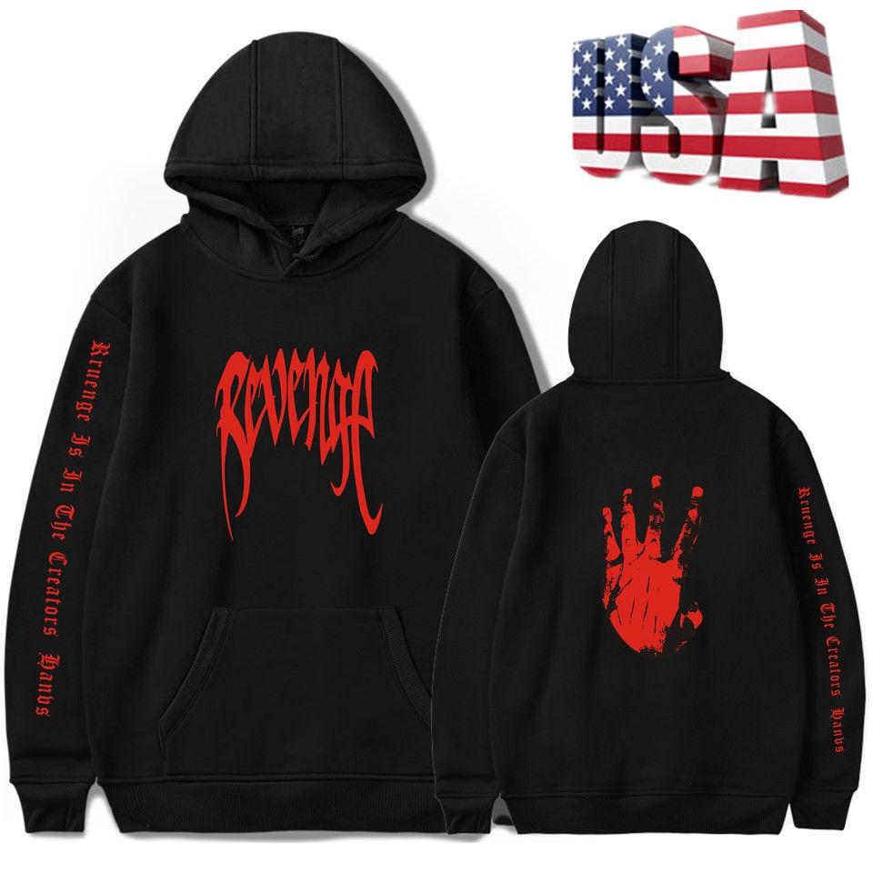 XXXTentacion Bad Vibes Forever MENS Black w// Red Print REVENGE /'KILL/' HOODIE