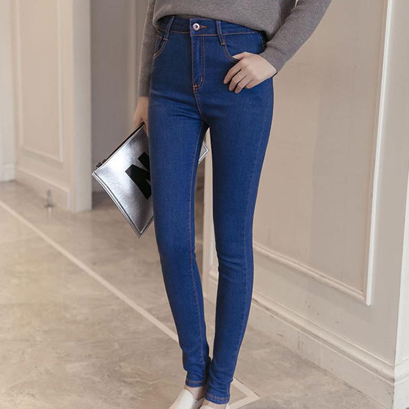 2c47a82d8c0a Women High Elastic Lift Hip Pants Middle Waist Slim Pencil Jeans Denim Long