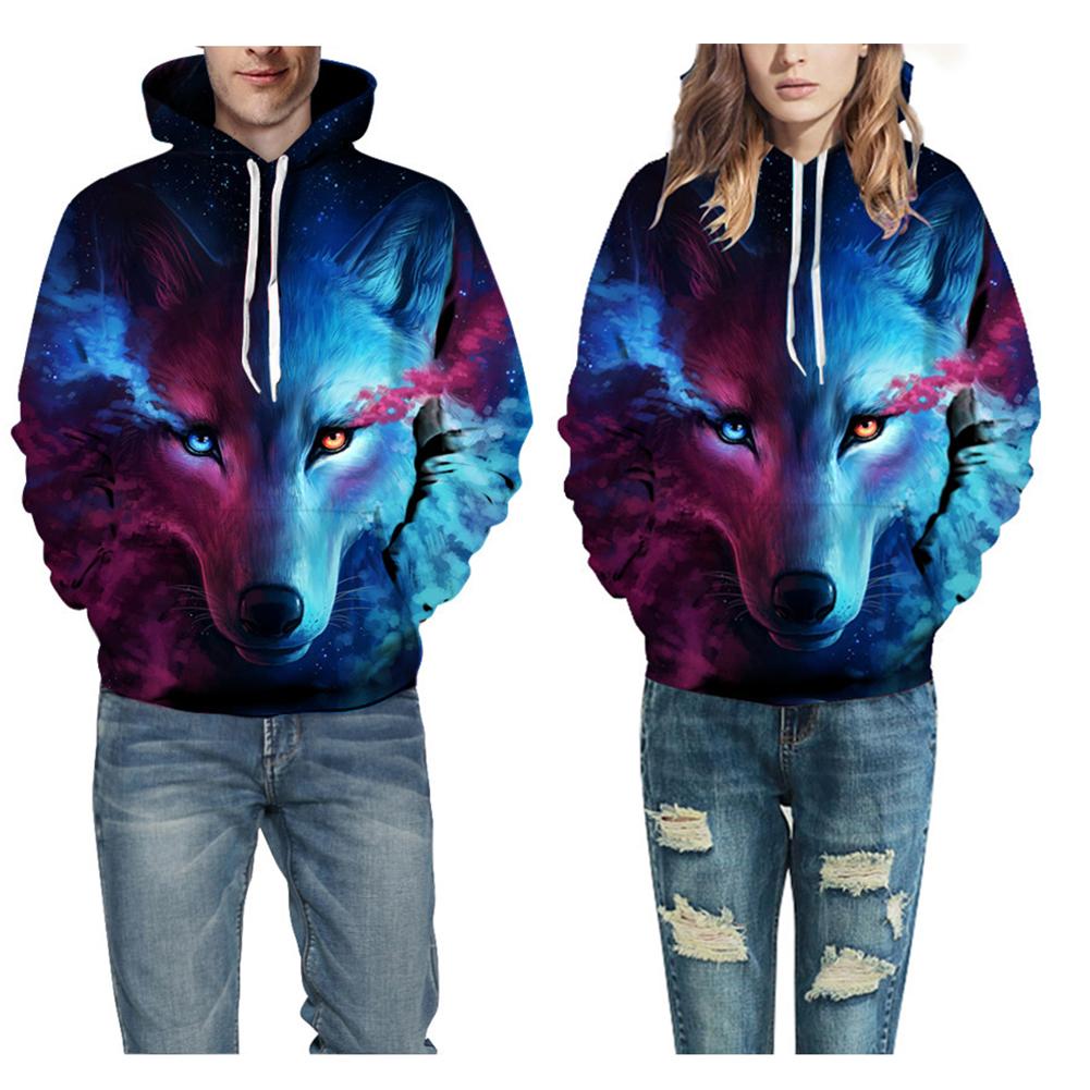 62dc22716c2d Details about Men Women s 3D Wolf Print Hoodie Jacket Pocket Jumper Hooded  Graphic Sweatshirts