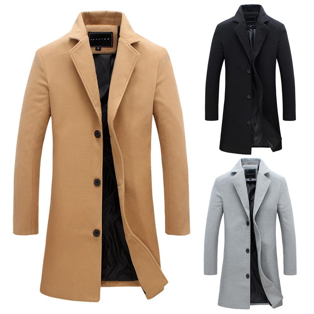 los Coat larga la de acerca de Abrigo Trench sólido invierno moda Chaqueta pecho de Un Detalles solo Color hombres wBEvqH