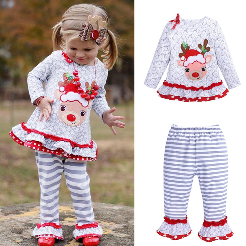 c7eb3ed64ddab 2PCS/Set Children Girls Christmas Suit Cartoon Elk Shirt + Stripe Pants Top  and