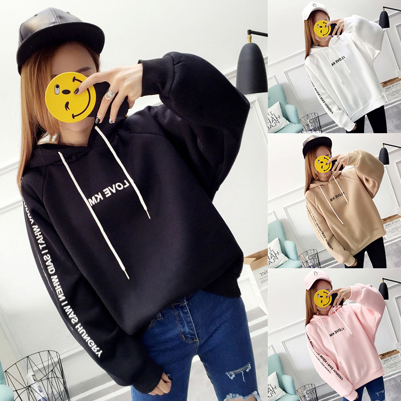 Women-Letter-Print-Thicken-Loose-Hooded-Long-Sleeve-Warm-Large-Size-Sweatshirts