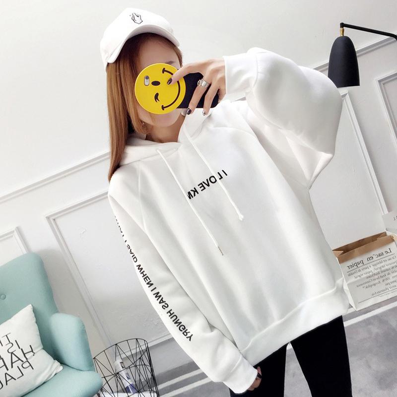 Women-Letter-Print-Thicken-Loose-Hooded-Long-Sleeve-Warm-Large-Size-Sweatshirts miniature 4