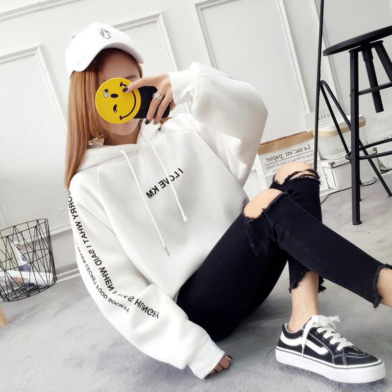 Women-Letter-Print-Thicken-Loose-Hooded-Long-Sleeve-Warm-Large-Size-Sweatshirts miniature 5