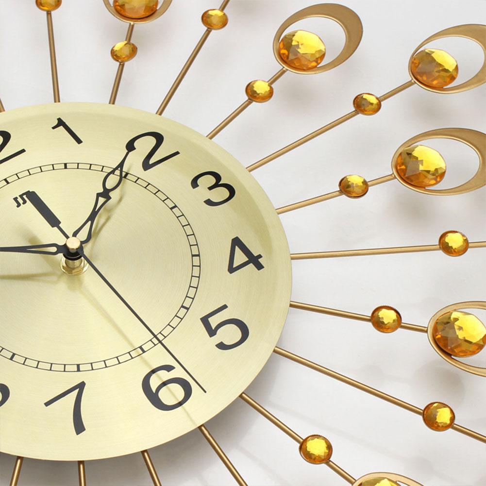 Modern Mute Wall Clock Crystal 3D Large Silent Clocks Home Living ...