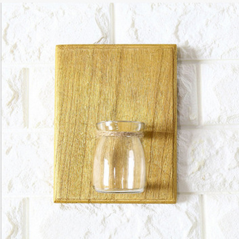 Home Wall Decoration Wooden Wall Hanging Plant Terrarium Glass ...