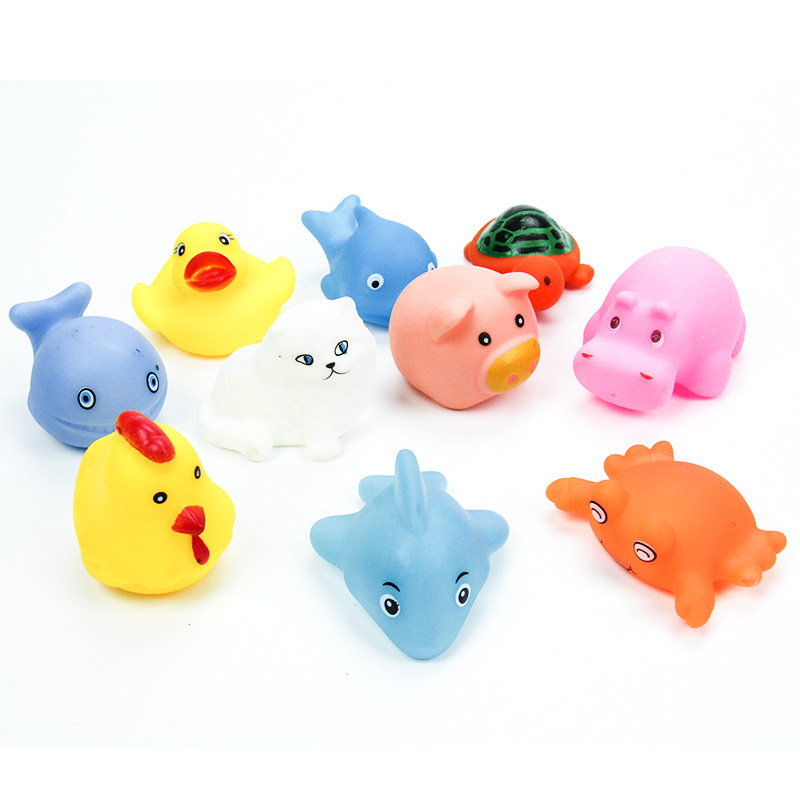 10Pcs Animals Baby Bath Toys + Net Rubber Water Squeaky Beach ...