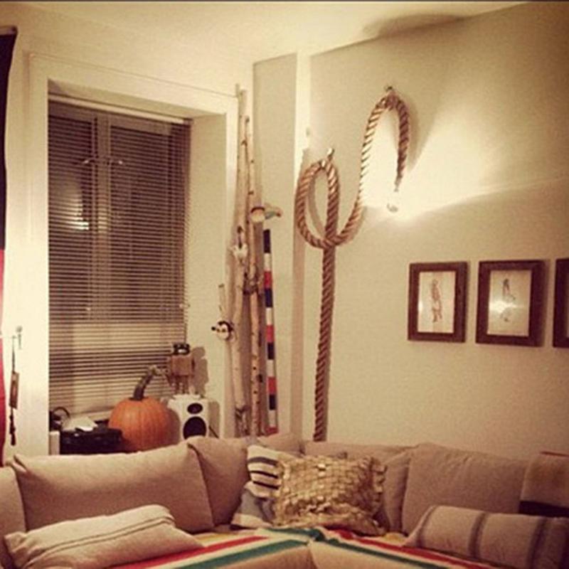 Retro rustic hemp rope ceiling chandelier pendant lamp - Lights to hang in room ...