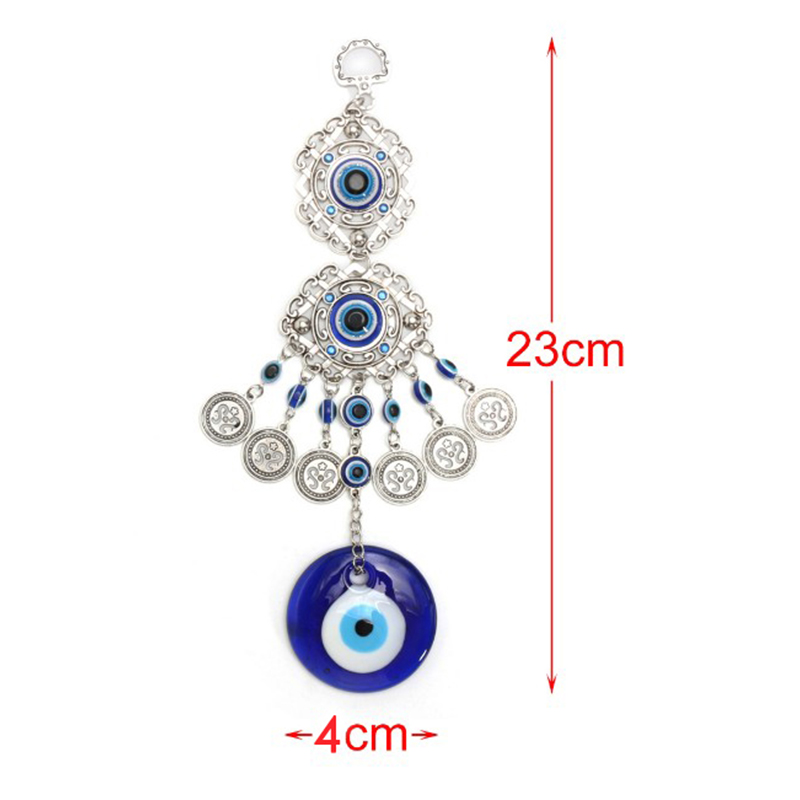 Blue-Evil-Eye-Amulet-Turkish-Wall-Hanging-Home-Decor-Blessing-Gift-Lucky-Pendant thumbnail 2