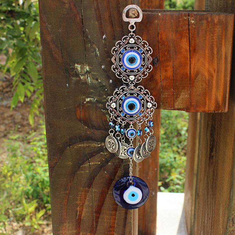 Blue-Evil-Eye-Amulet-Turkish-Wall-Hanging-Home-Decor-Blessing-Gift-Lucky-Pendant thumbnail 3