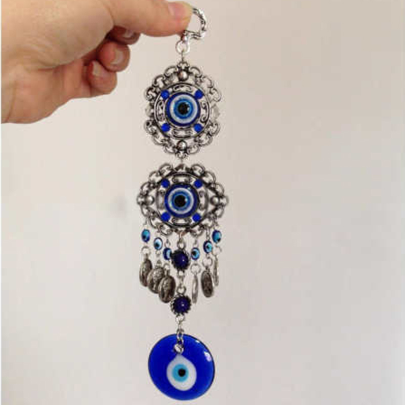 Blue-Evil-Eye-Amulet-Turkish-Wall-Hanging-Home-Decor-Blessing-Gift-Lucky-Pendant thumbnail 6